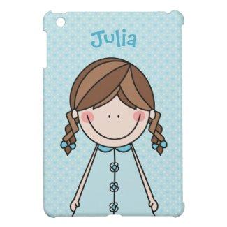 Girl in Braids (blue) iPad Mini Cases