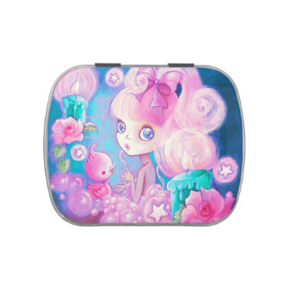 Girl in Bubblebath with Candles and Roses Candy Tin