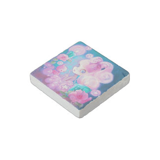 Girl in Bubblebath with Candles and Roses Stone Magnet