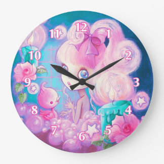 Girl in Bubblebath with Candles and Roses Large Clock