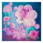 Girl in Bubblebath with Candles and Roses Poster