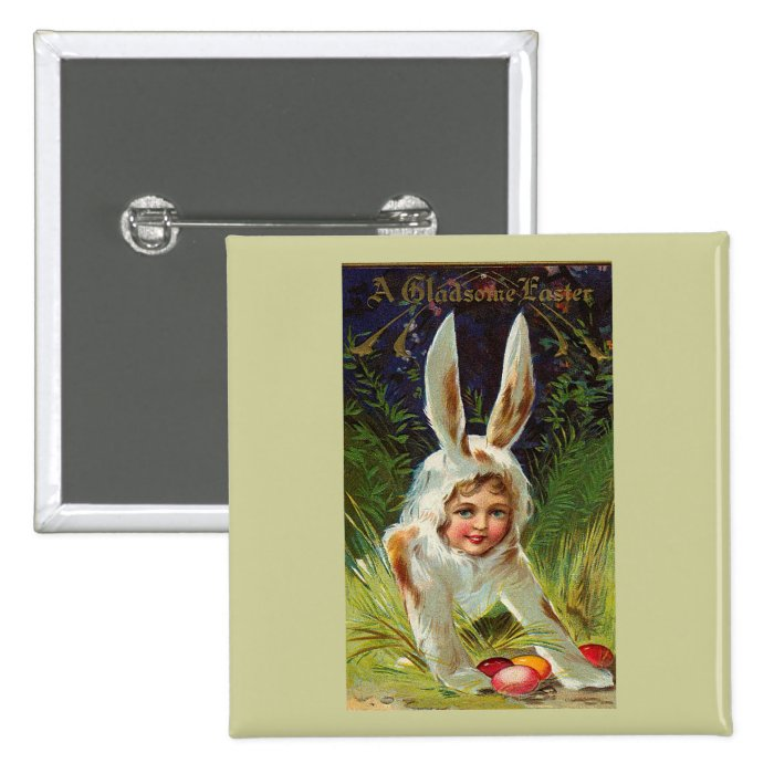 Girl In Bunny Costume Vintage Easter Button