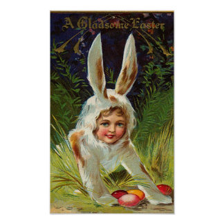 Girl In Bunny Costume Vintage Easter Poster