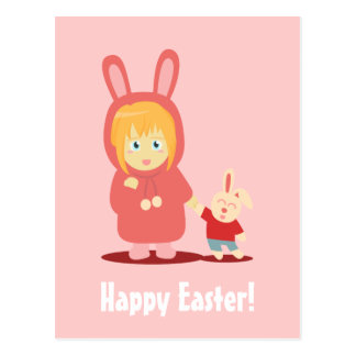 Girl in bunny hoodie outfit for Easter Postcard