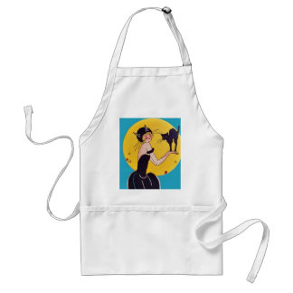 Girl in Cat costume with her black cat Aprons