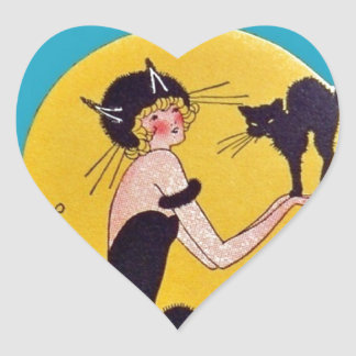 Girl in Cat costume with her black cat Heart Sticker