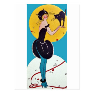 Girl in Cat costume with her black cat Postcard