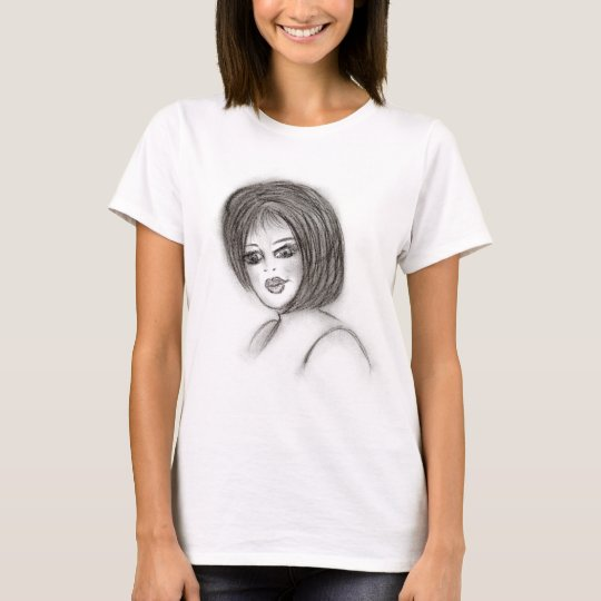 Girl in Charcoal T-Shirt