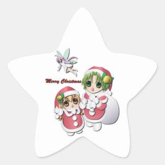 Girl in Christmas Star Sticker