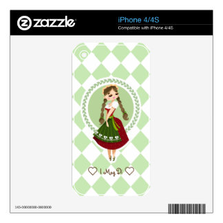 Girl in Dirndl iPhone 4 Decals