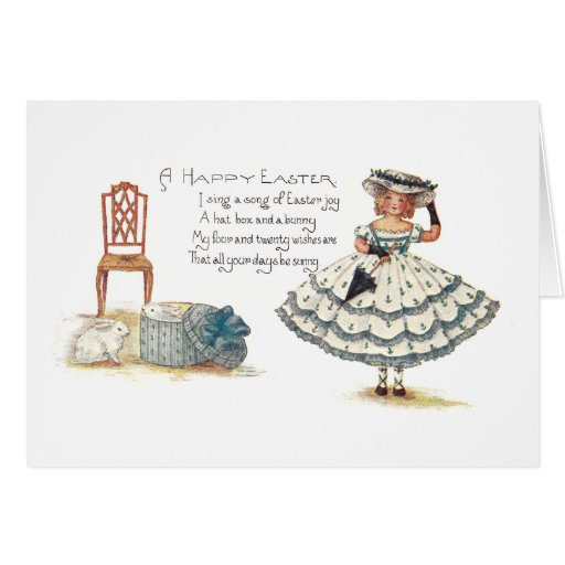 Girl in Easter Dress and Bunnies Greeting Card