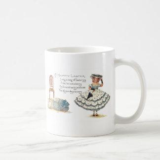 Girl in Easter Dress and Bunnies Coffee Mug