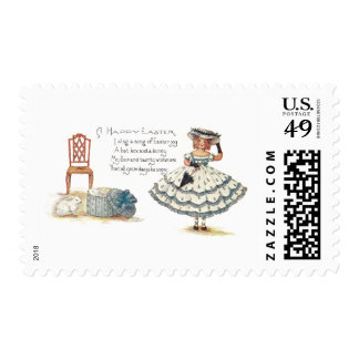 Girl in Easter Dress and Bunnies Stamp