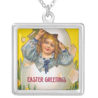 Girl in egg easter necklace