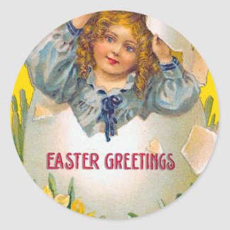 Girl in Egg Easter Stickers