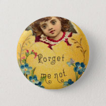 Girl in Egg Forget Me Not Pinback Button