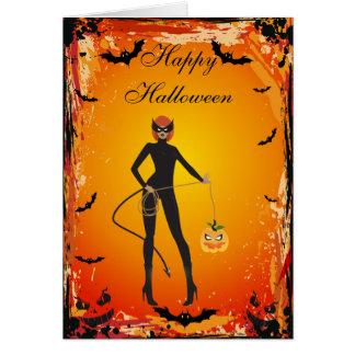 Girl in Fancy Dress Costume & Bats Halloween Card