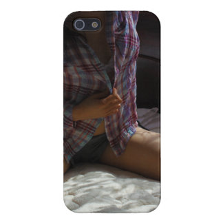 Girl in Flannel Shirt kneeling on a Bed Cases For iPhone 5