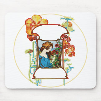 Girl in Garden Mouse Pad