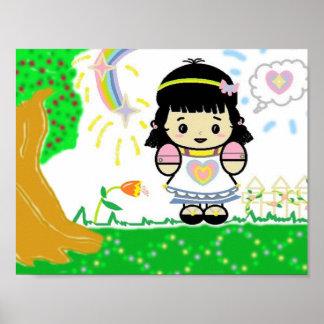 Girl in Garden Poster