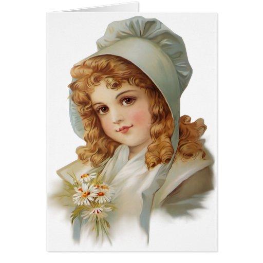Girl in Green Bonnet Greeting Card
