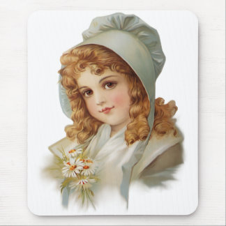 Girl in Green Bonnet Mouse Pad