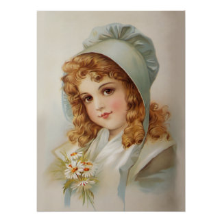 Girl in Green Bonnet Poster