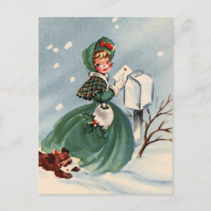 girl in green coat mailing christmas cards - Mailing Christmas Cards