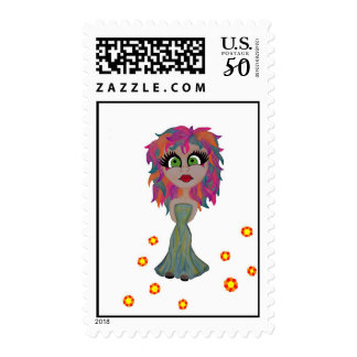 GIRL IN GREEN DRESS POSTAGE