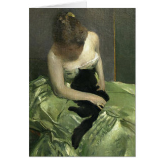 Girl in Green Dress with Black Cat Cards