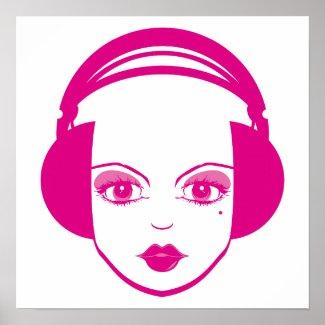 Girl in Headphones Print print