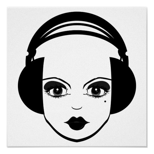 Girl in Headphones Print