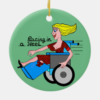 Girl in High Heel Wheelchair Amputee Ceramic Ornament