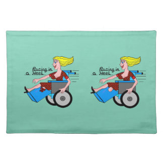 Girl in High Heel Wheelchair Amputee Cloth Placemat