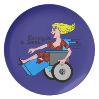 Girl in High Heel Wheelchair Amputee Plate