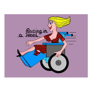 Girl in High Heel Wheelchair Amputee Postcard