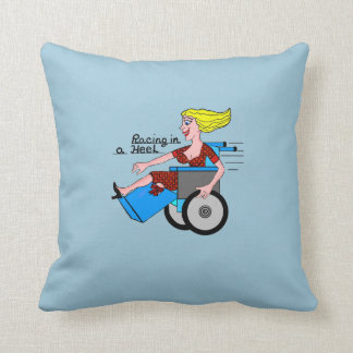 Girl in High Heel Wheelchair Amputee Throw Pillow