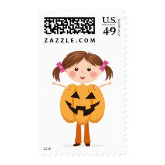 Girl in Jack o lantern costume Halloween postage