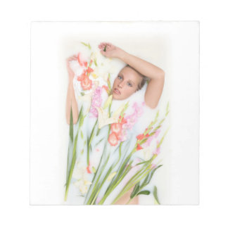 Girl in Milk with Flowers Notepad
