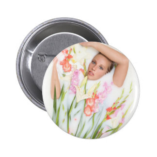 Girl in Milk with Flowers Pinback Button