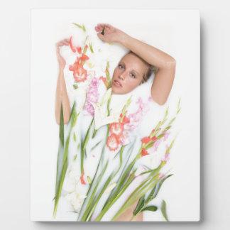 Girl in Milk with Flowers Plaque