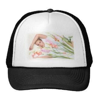 Girl in Milk with Flowers Trucker Hat