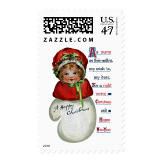 Girl in Mitten Vintage Christmas Postage