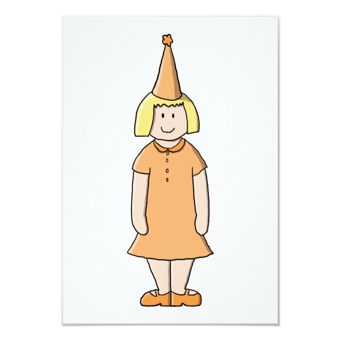 Girl in Orange Dress and Birthday Party Hat. Card