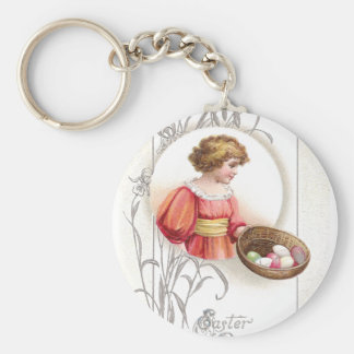 Girl in Orange with Eggs Vintage Easter Keychains