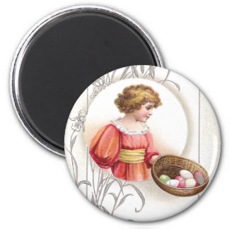 Girl in Orange with Eggs Vintage Easter Magnet