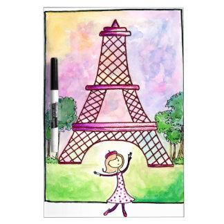 Girl In Paris Eiffel Tower Travel Serena Bowman Dry-Erase Board