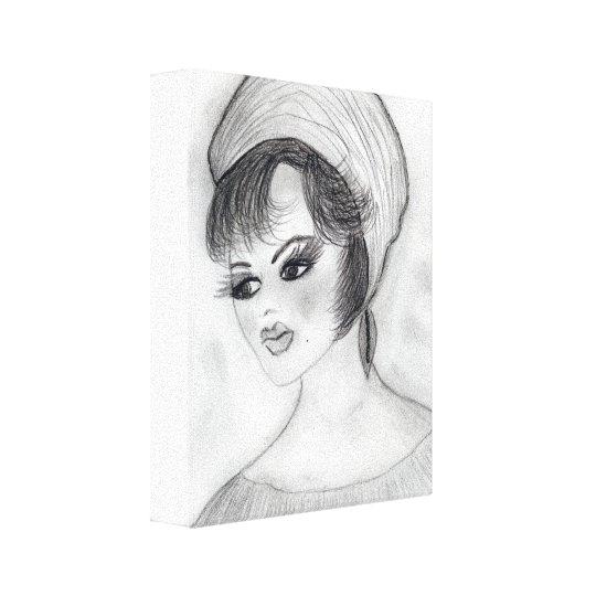 Girl in Pillbox hat Canvas Print