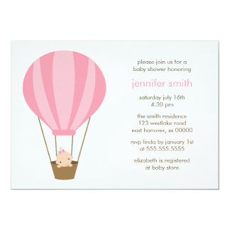 Girl in Pink Balloon Baby Shower Card