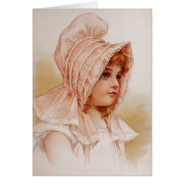 Girl in Pink Bonnet Card